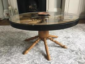 Vintage antique wheel coffee table