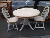 SOLID PINE CIRCULAR TABLE TOP HAS BEEN SANDED ANS WAXED PLUS 2 CHAIRS