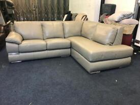 LITTLEWOODS PRIMO GREY ITALIAN LEATHER CHAISE CORNER SOFA RIGHT HAND SIDE ANGLE L SHAPE CHROM NEW