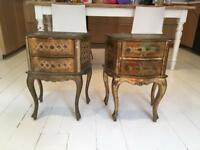 Beautiful antique vintage French style Gold bedside tables