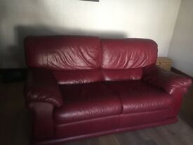 Maroon Italian Leather two seater sofa
