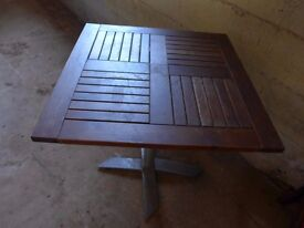 Square Slated Table Top with Aluminium Base Cafe Restaurant Leisure Table