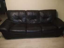 Sofa Three Seater Leather Dark Brown (Great Condition)