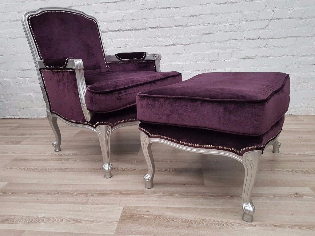 Purple Upholstered Armchair With Footstool (DELIVERY AVAILABLE)
