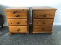 Solid Pine Bedside Cabinet x2