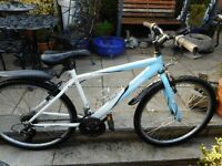 mans 17 inch frame blue apollo mode bike with lock