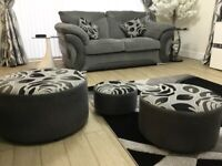 Serena 2x2 seater sofas, 1 armchair, 3 in 1 matching puffers
