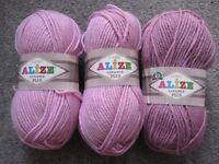 3 Balls of Pink Alize Classic Lanagold Plus Yarn and 1 & 2/3rd balls of White Superlana Maxi Yarn