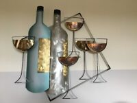 Large Metal Wall Art, Two Wine Bottles & 5 Wine Glasses
