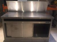 Stainless steel work table with high splash back