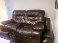 2 AND 3 SEATER RECLINING SOFA SUITE. LEATHER