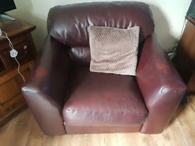 Brown leather chair 2 seater sofa and large 4 seater sofa