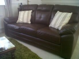 Leather Sofa and Chairs ( Chocolate/Self Stich Dark