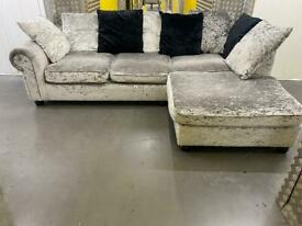 Crushed velvet grey L shape sofa •free delivery