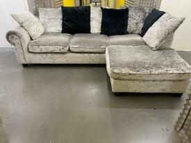 Crushed velvet grey L shape sofa •free delivery