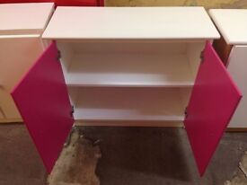 Small 2 door cupboard, solid pine, one shelf inside, All Whitewashed pine finish with Fuchsia doors
