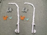 Animal mobiles for baby cot