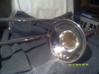 CHEAP TROMBONE In SILVER PLATE , NO DAMAGE , PLATING VERY GOOD , SLIDES O.K. +++++++