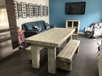 Unique White-Wash Dining Table Set With Matching Benches. Made to order.