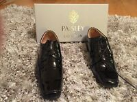 Boys Patent Leather Black Paisley of London Shoes Size 5