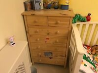 Kids pine chest of drawers