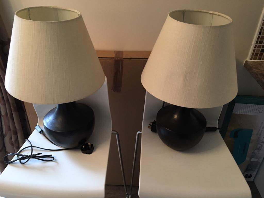 2 X Dark Brown Base Lamps And Cream Lamp Shades In