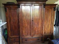 Large Antique Victorian Mahogany Breakfront Wardrobe