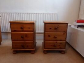 Two Solid Wooden Bedside Drawers In Very Good Condition ( Can Sell Separately )