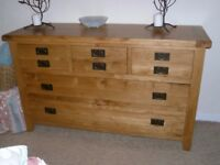 Modern oak chest of drawers Arts and Crafts style-4 short over 2 long drawers- can maybe drop off