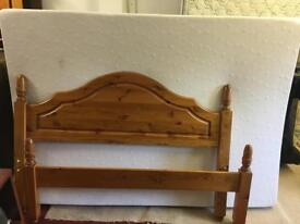 Solid pine double bed with clean foam mattress