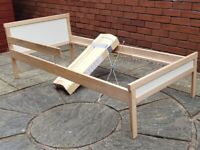 IKEA SNIGLAR toddler bed frame with solid wooden slats. Very good clean condition.