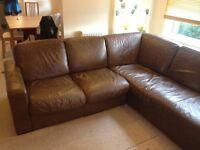 Italsofa - brown leather corner sofa