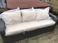 Outdoor rattan garden 3 seater brown sofa new - free delivery available