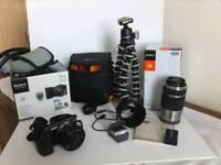Sony Alpha NEX-5T 16.1 mp digital camera +lenses 16 - 50, 55 - 210 as new, Joby tripod + bags.