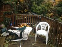 Plastic garden chairs for sale.