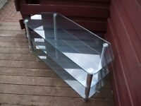 TV Stand, 3 Glass Shelfs, Chrome Upstands, Very Strong And Secure, Great Condition