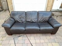 3 seat and 2 seat leather settees