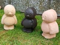 3x jelly babies;cast stone garden ornament