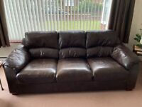 BROWN LEATHER SOFA AND CHAIR
