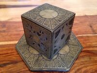 Hellraiser Puzzle Box Movie Replica with a Display Base - Antique Gold Finish