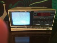 Great Working Order 1980s Ingersoll Vintage Black and White TV Radio Alarm Clock