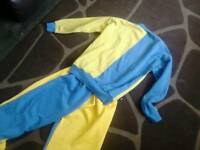 Hmp prison ey man tracksuit top and bottoms stripes genuine prison clothes. Blue/yellow escape