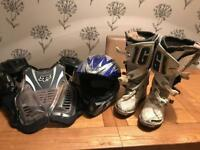 Motocross boots helmet and body armour
