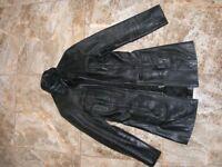 Black Ladies genuine leather jacket (m/s)