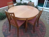 G-Plan Round Extending Teak Dining Table & 4 Chairs, Excellent Condition.