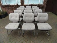 Set of 12 Gordon Russell office dining chairs Chrome 1970's 1980's