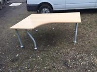 corner radial light wood desks. Delivery