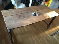 Vintage Mid Century Pine Tressel Table