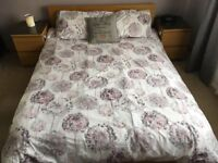Bedroom furniture-double bed with mattress , 2 bed side lockers and 3 door wardrobe