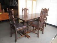 OAK REFECTORY STYLE DINING TABLE WITH FOUR OAK BARLEY TWIST DINING CHAIRS FREE DELIVERY